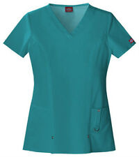Scrubs Dickies Xtreme Stretch V- Neck Top 82851 Teal   WE SHIP FREE