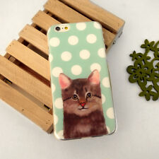 Ultra Case Cute Cat Cyan Polka dots Clear Hard / Soft Case for iPhone 6 6s plus