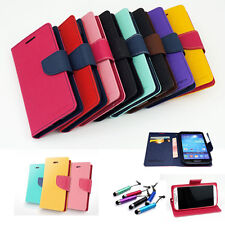 Dual Color Card Hoder Wallet Leather Flip Case Cover Stand For Samsung Various