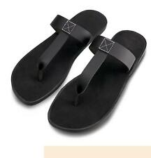 Vintage Men's flip-flop genuine Cow leather moccasin thong casual beach Slippers
