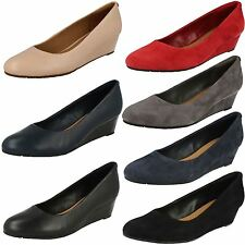 Ladies Clarks Slip On Wedge Heel Shoes Vendra Bloom