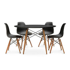 Replica Retro Eames DSW Eiffel BLACK Round 120CM Dining Table Set 4 or 6 Chairs