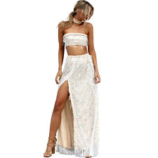 Simplee Sexy Party Beach Off Shoulder Side Split Sequin Tassel Long Maxi Dress