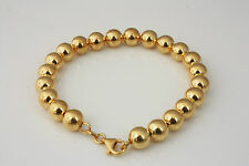Sterling Silver 925 6mm Yellow Ball Bead Bracelet Rhodium Plated