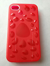 SILICONE RUBBER TPU GEL BACK CASE COVER SKIN FOR APPLE iPHONE 4 - RED BUBBLES