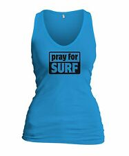 Pray For Surf Womens Tank Top Surf Surfing Shirt w/Free Sticker FREE FAST S&H!