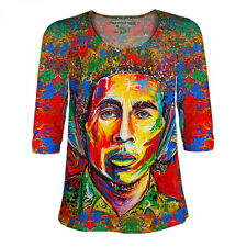 Womens Lace 3/4 Sleeve Red Bob Marley All Over Print Shirt