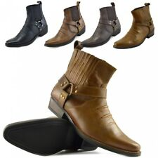 Mens Leather Cowboy Biker Ankle Boots Pointed Toe Western Boots Chelsea Shoes