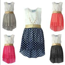 Girls Sleeveless Waist Band Asymmetrical Chiffon Dress Gold Necklace Polka Dots