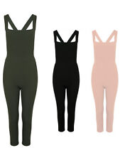 Full Length Cross Back Crepe Pinny Style Jumpsuit Dungarees