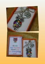 BEST TEACHER Owl Star Rhinestone Apple 2016 Thank You Keepsake Charm Gift Boxed