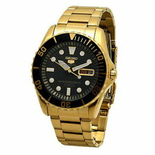 Seiko Sport Analog Mens 5 SPORTS  JAPAN Gold Watch SNZF22J1