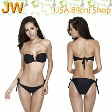 Bandeau Swimwear Juniors Black Bikini Bathing Suit For Girls Women Two Pieces