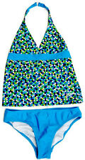 SPEEDO NWT Girls 2-Piece BLUE & WHITE Bathing Suit Swimsuit  MULTIPLE SIZES