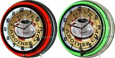 "Coffee Have Another Cup 18"" Double Neon Wall Clock Vintage Retro Diner Decor"