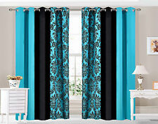 Eyelet Ring top Curtains DAMASK 3 TONE fully lined TEAL