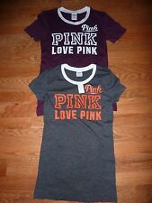 """VICTORIAS SECRET PINK GRAPHIC PERFORATED """"LOVE"""" """"PINK"""" SCOOPNECK NWT"""