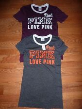 "VICTORIAS SECRET PINK GRAPHIC PERFORATED ""LOVE"" ""PINK"" SCOOPNECK NWT"