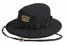 BLACK Deluxe Vietnam Veteran's Custom Embroidered Military Style Boonie Hat 5938