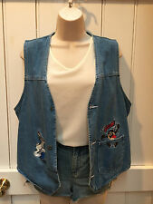 Vintage 90s Looney Tunes Sleeveless Denim Jacket Trucker Gilet Waistcoat M