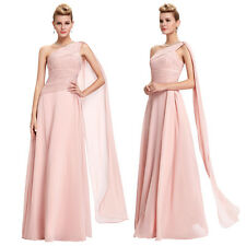Chiffon PINK Bridesmaid Evening Dress One Shoulder Cocktail Party Ball Gown Prom