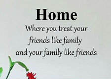 HOME TREAT FRIENDS LIKE FAMILY WALL QUOTE DECAL ART HOME DECOR LOVE LIFE LIVING