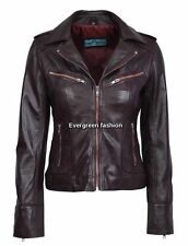 Ladies OX BLOOD Biker Motorcycle Style Soft Real Nappa RIDER Leather Jacket