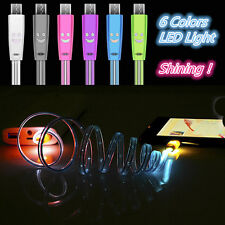 Glow LED Visible Light Micro USB Charge Data Sync Cable For Android Phone Lot
