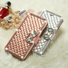 Luxury Bling Handmade Diamond Magnetic Flip Wallet Stand Cover Case For iPhone