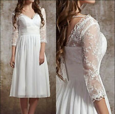 Stock Half Sleeve V-Neck knee length short lace Wedding Dress Bridal ball Gown