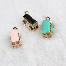 New Gold Tone Rhinestone Enamel 3D Bus Charms Pendant DIY Jewelry Making 11x19mm