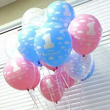 10Pcs Sweet Baby Girls Boys 1st Birthday Clouds Printed Latex Balloons Party DIY