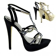 Womens Ladise Stilletto High Heels Party Shoes, Ankle Strap Diamente Sandals UK