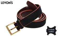 LEVON'S Men's Genuine Cowhide Leather Belt (Black/Orange)