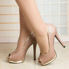 WOMEN SHOES DESIGNER FRENCH TAUPE BEIGE PEEP TOE HEELS WEDDING PARTY EVENING
