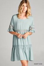 Jodifl Green Desert Sage BOHO Hippie Chic Tunic Dress Lace S M L