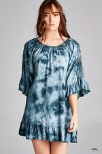 Jodifl BOHO Hippie 70s Tie Dye Tunic Top Green Teal with Lace S M L