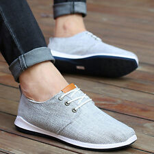 New Fashion Men's sneakers Breathable Loafer Leather Casual Canvas Flat Shoes