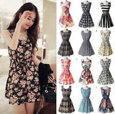 Womens Summer Beach Chiffon Sleeveless Floral Pleated Party Mini Dress Sundress