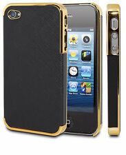 Frame Luxury PU Leather Chrome Hard Back Phone Case Cover Skin For iPhone 4 / 4S