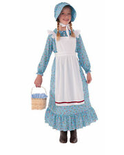 Child's Girls Modest Prairie Pioneer Woman Dress And Bonnet Costume