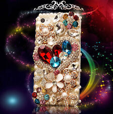 For Mobile Phone Luxury Crystals Rhinestones Bling Lovely Floral Heart Hard Case