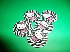 Pre Cut One Inch HELLO KITTY ZEBRA PRINT Bottle Cap Images! FREE SHIP