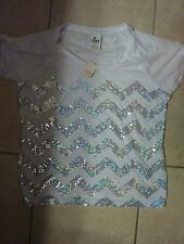 VICTORIAS SECRET PINK BLING SEQUIN CHEVRON SCOOPNECK/CREW CUFFED TEESHIRT NWT