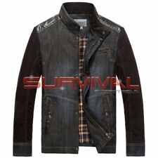 Mens New Denim Jacket With Cordrouy Sleeves Designer Faux Leather Trim S M L XL