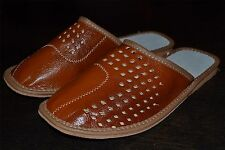 Mens Natural Sheep Leather Slippers Shoes Sandal Handmade In Poland Comfortable