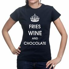 Keep Calm Carry On Wine Fries Funny Womens Ladies T shirt