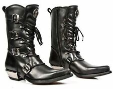 NEWROCK 7993-C2 CLASSIC Unisex Black Leather Buckle Goth Lace High Zip ROCK Boot