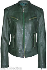 SOLO Ladies Dark Green Retro Biker Style Fitted Motorcycle Real Leather Jacket