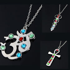 Crystal Sword Latin Cross OM Symbol Pendant Necklace Jewelry Charm Silver Chain